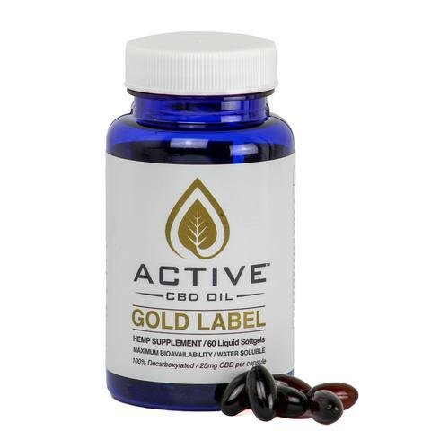 Active CBD oil softgel capsules 60ct 1500mg bottle